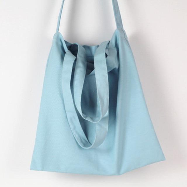 Light blue cotton canvas bag oversize shoulder bag handbags women beach bag reusable shopping bags for women free shipping