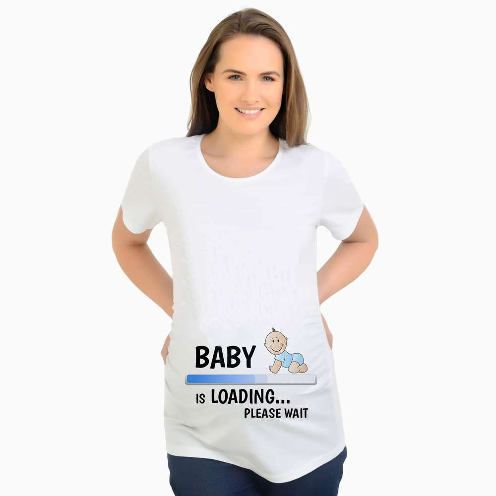2017 Summer Designer Funny T shirts Pregnant Maternity BABY NOW LOADING T-Shirt Women Letter Print Casual Cotton Tshirt men allover letter print curved hem shirt