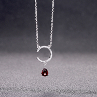 BUYEE 925 Sterling Silver Women Luxury Necklace Full Zircon Double C Pendant With Drop Water Red