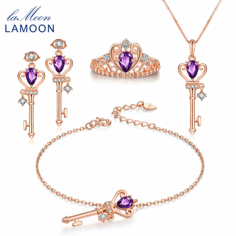 LAMOON Keys Crown 925-Sterling-Silver 4PCS Jewelry Sets Natural Amethyst S925 Fine Jewellery for Women Wedding Gift V010-1