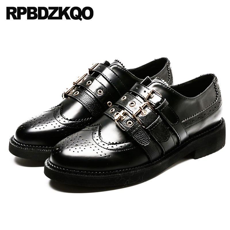 Vintage Women Oxfords Shoes Gingham Brogue Flats Japanese School Black And White Plaid British Style Ladies Round Toe European women white brogue stud shoes british style metal flats rivet fashion oxfords black designer spring autumn punk rock belts zip