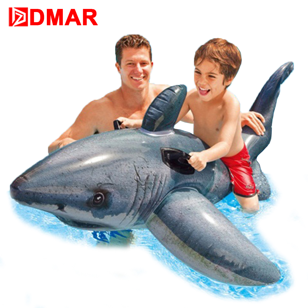DMAR 173cm 68 Inflatable Shark Ride on Toys for Kids Giant Pool Float Toys Swimming Ring Circle Beach Sea Inflatable Mattress  DMAR 173cm 68 Inflatable Shark Ride on Toys for Kids Giant Pool Float Toys Swimming Ring Circle Beach Sea Inflatable Mattress