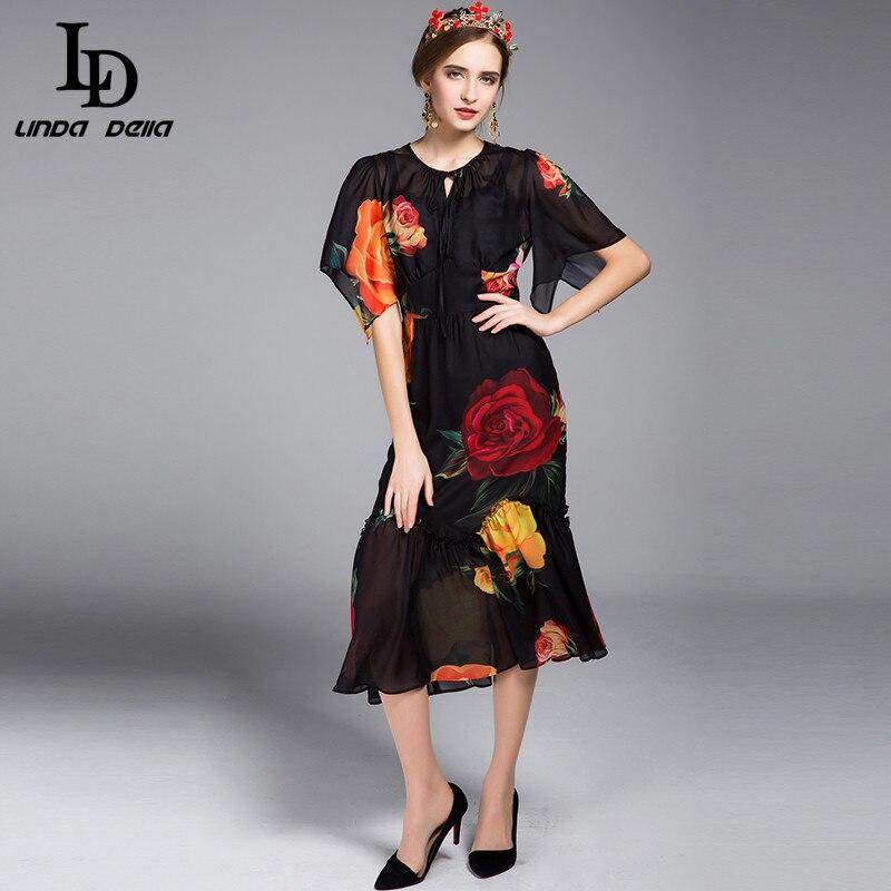 fashion designer michael kors l36d  buy New 2017 Fashion Runway Designer Dress Summer Style Women's High  Quality Flare Sleeve Sexy Rose Floral Print Dress