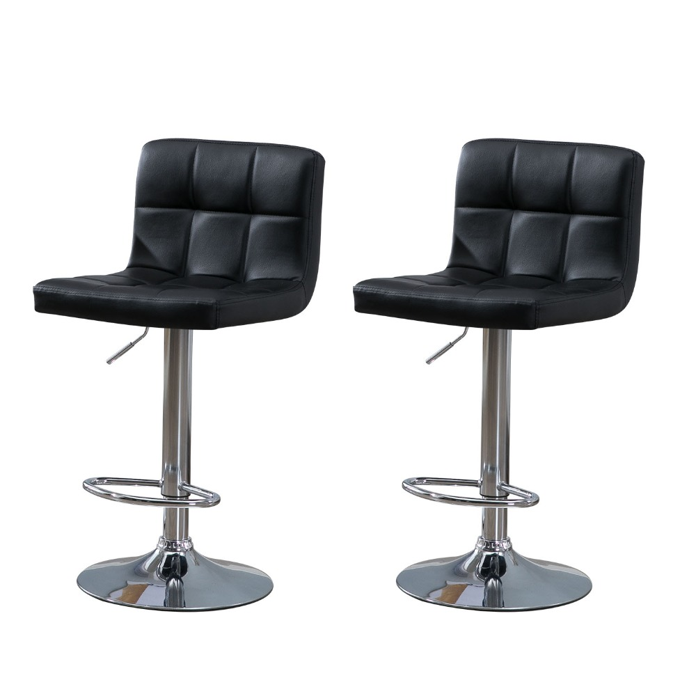 Samincom 2 Piece Modern PU Leather Swivel Adjustable Barstools Hydraulic Counter Stools Square Height Bar Stool