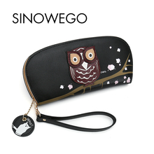 Купить с кэшбэком 2018 New Fashion Owl Women Wallets Luxury Brand Famous Designer Wallet Female Cute Animal Card Holder Applique Long Women Purse