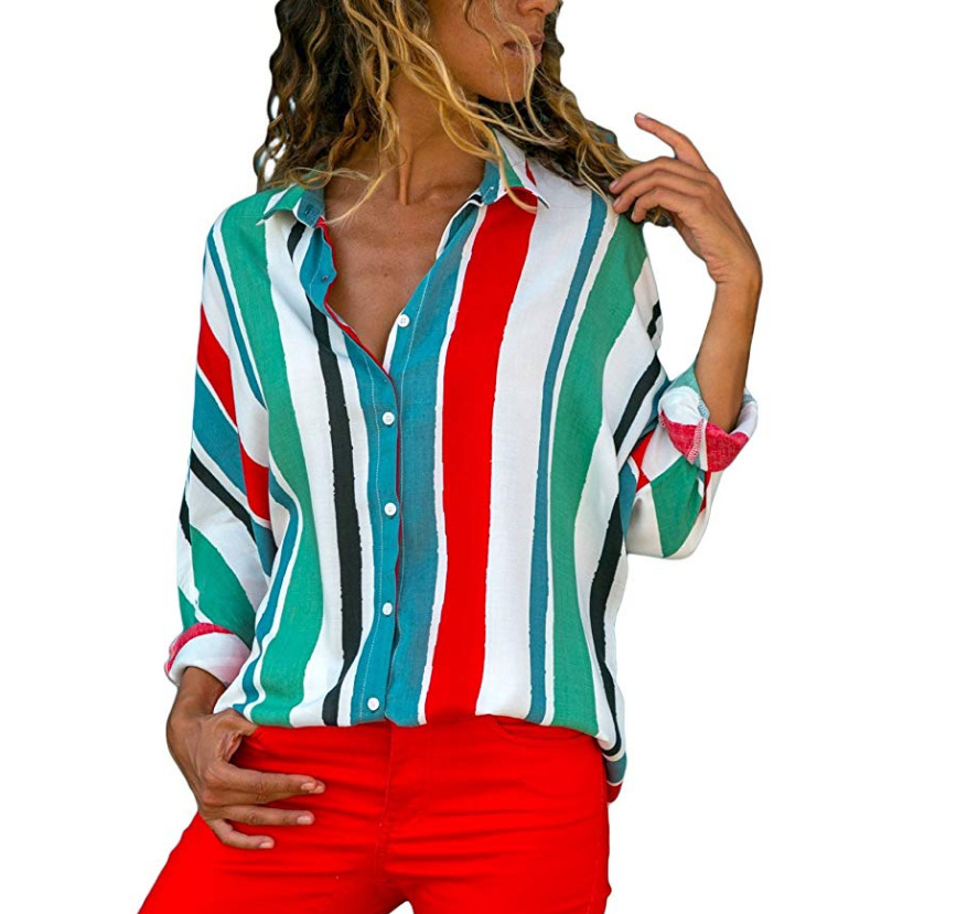 Female Blouse Colorful striped long sleeve V neck blouse Women casual work slim shirt tops