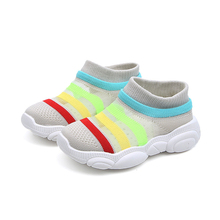 Toddler Sport Shoes Girls High Toe Sneakers Fashion 2019 Rainbow Kids Sneaker Socks Summer Mesh Children Casual Shoe