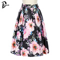 Daylook 2016 nueva moda Floual verano faldas estilo para mujer imperio plisado tutú falda de la vendimia elegante plisado falda de Midi Saia