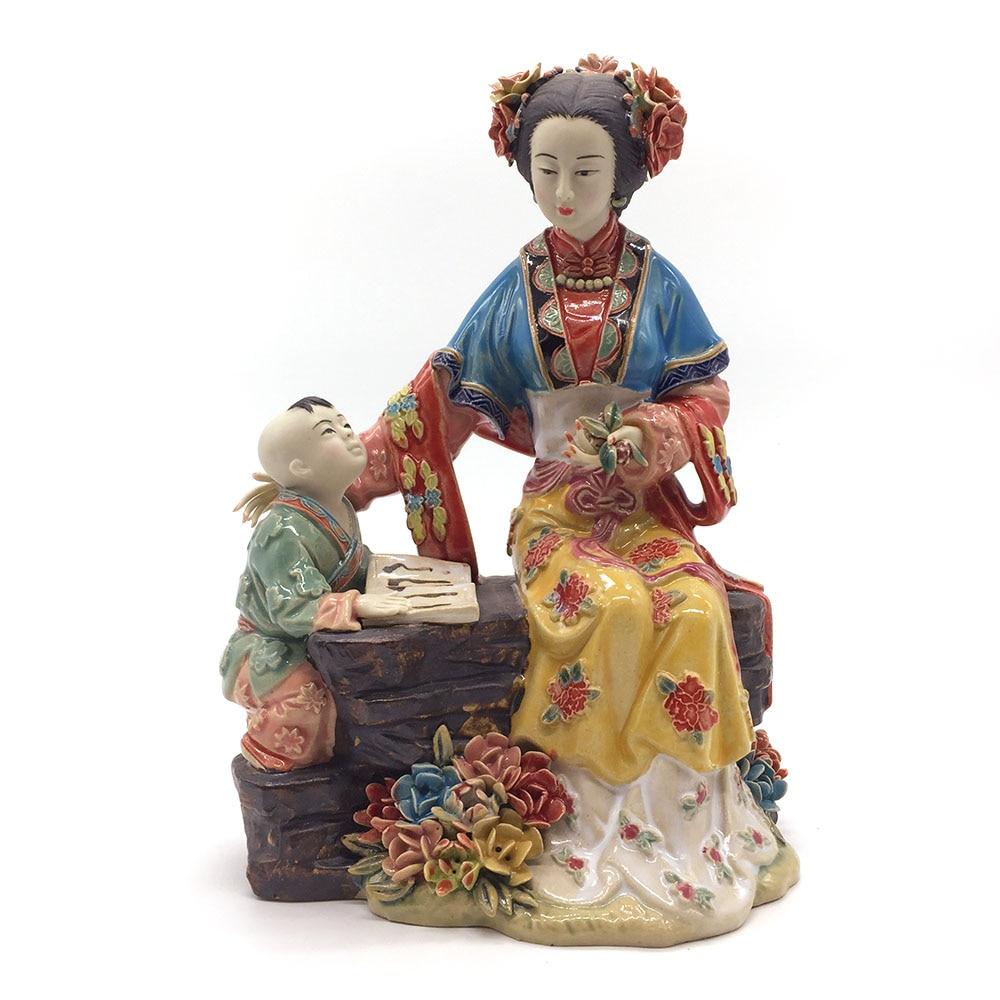 Statue Figurines Ceramic Female Chinese Antique Imitation Figure Sculpture Collectibles Home Decoration
