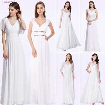 Ever Pretty Cheap Chiffon Wedding Dress Elegant A Line V Neck Flare Sleeve Long Beach Bridal Gown 2019 Robe De Mariee EP09890WH 2