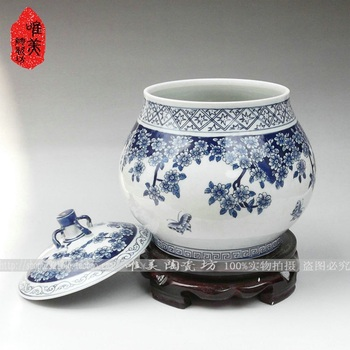 Jingdezhen ceramics Five good big just blue and white porcelain blue butterfly