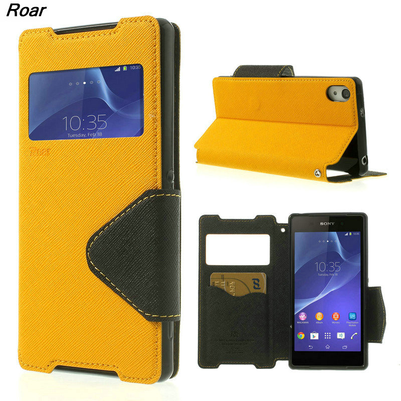 For Sony Xperia Z2 Case Original Roar Korea Dairy View Window Stand Leather Flip Phone case Case for Sony Xperia Z2