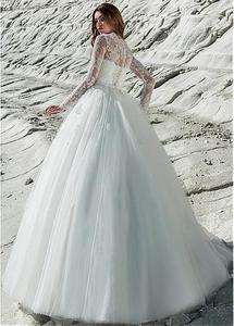 Image 3 - פנטסטי טול & תחרת Bateau מחשוף 2 ב 1 חתונה שמלת תחרה אפליקציות ארוך שרוול כלה שמלה עם נשלף חצאית