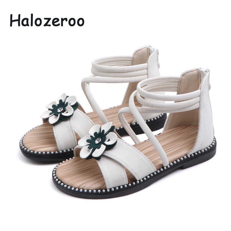 ฤดูร้อน 2019 เด็กใหม่ Gladiator รองเท้าแตะ Rhinestone รองเท้าเด็กหญิงดอกไม้รองเท้าแตะสีขาวยี่ห้อ Beach รองเท้าแตะ