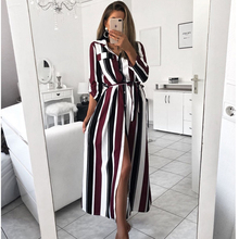Women Striped Long Shirt Dress Turn-Down Collar Button Dress Autumn Spring Long Sleeve Stripe Maxi Dresses Loose Vestidos 2019 spring summer long dress women floral print maxi long dresses casual pocket turn down collar button shirt dress vestidos