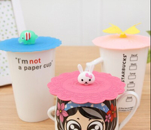 2Pcs/lot Cute Novelty Gift Cartoon Dustproof Coffee Mug silicone cup lid Sealed Cup Cover bottle caps covers