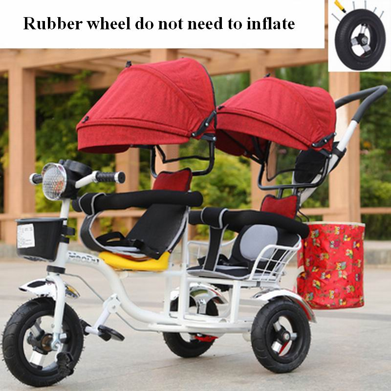 New design high quality Twins infant tricycle bike trolley double seat for 6 month - 6 years old baby stroller rubber wheel 2016 updated new one touch swivel two way seat child tricycle infant stroller baby bike trolley swivel seat tricycle