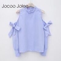 Jocoo Jolee Sexy Off Shoulder Bow Blouse Fashion Striped Shirt Long Sleeve Blouse Women Clothing High