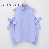 Jocoo Jolee Sexy Off Shoulder Bow Blouse Fashion Striped Shirt Long Sleeve Blouse Women Clothing High