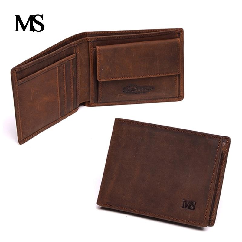 Genuine Crazy Horse Cowhide Leather Men Wallet Short Coin Purse Small Vintage Wallet Brand High Quality Vintage Designer 1653-1