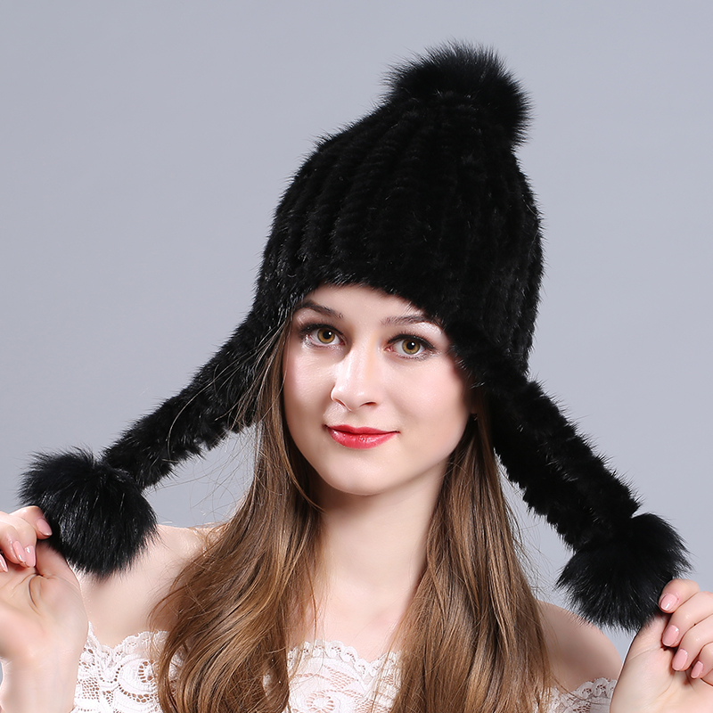 Korean version of the autumn and winter mink hat fur knit hat warm fashion ear cap 100%  system thickening Cap Russian 2017 of the latest fashion have a lovely the hat of the ear lovely naughty lady s hat women s warm and beautiful style
