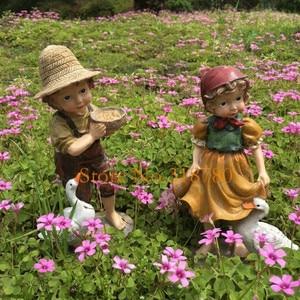 Image 4 - 22 cm/24 cm alta decoração do jardim ao ar livre arte resina americana menina e menino jardim estatuetas casa jardim quintal decoração
