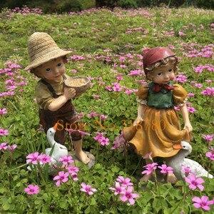 Image 4 - 22cm / 24cm High Garden Decoration Outdoor Art Resin American Girl and Boy Garden Figurines House Garden Yard Decor