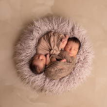 D&J Baby Round Blanket Photography Faux Fur Photography Prop Newborn Photo Shoot Background basket Filler fotografia Accessories цена и фото