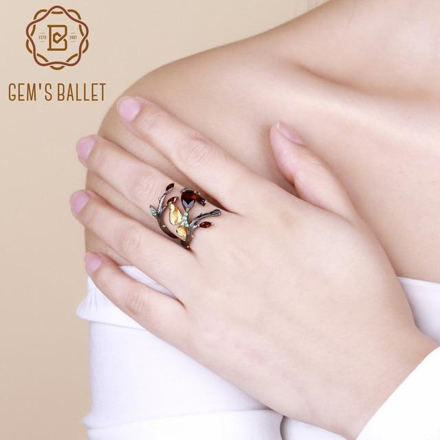 GEMS BALLET Anillo de plata de primera ley con forma de mariposa para mujer, sortija, plata esterlina 925, color granate, rojo, Natural, 2,37 quilates, hecho a mano