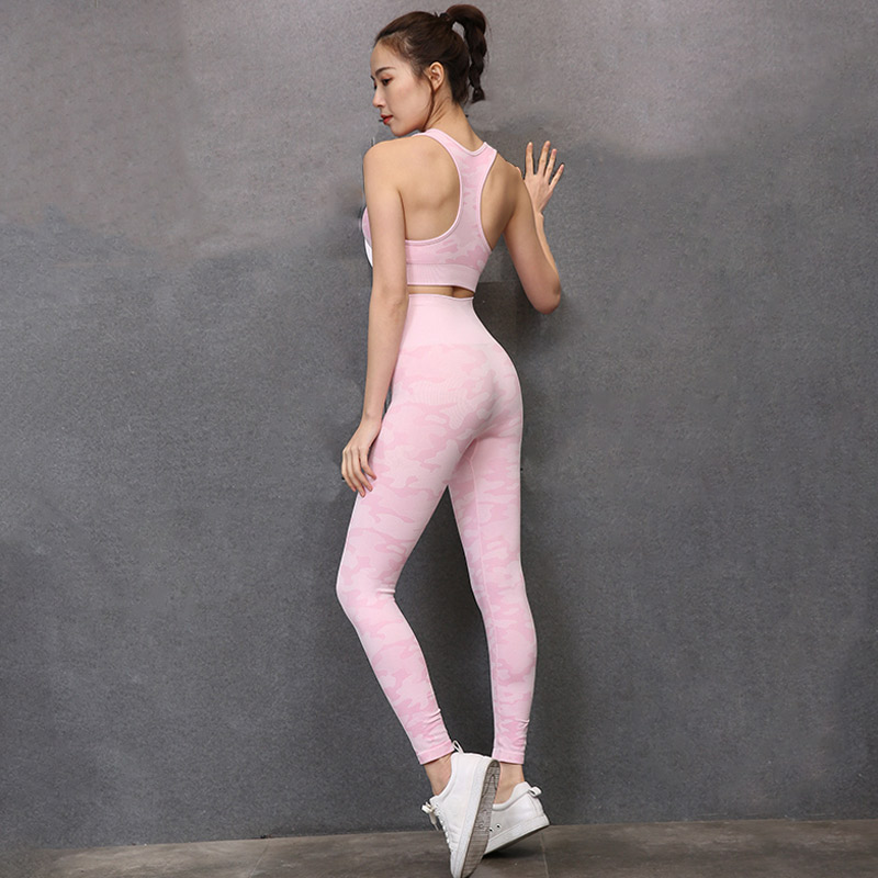 New Camo Seamless Gym Set 2 pcs Jogging Tracksuit Camouflage Workout Fitness Set for Women Workout Seamless Set Sports Clothes 5