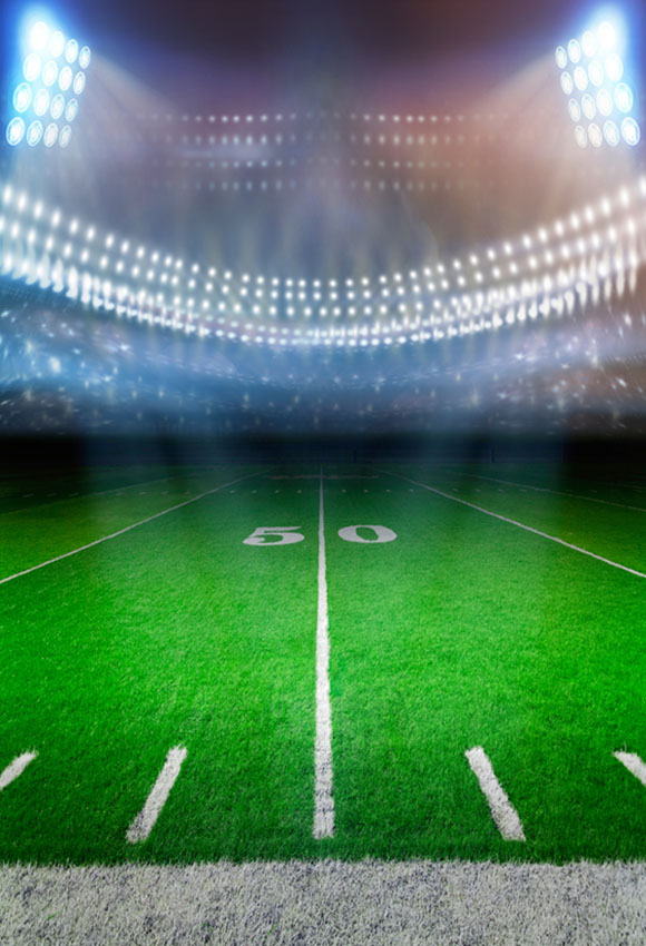American football players in game, touchdown. Stadium ...