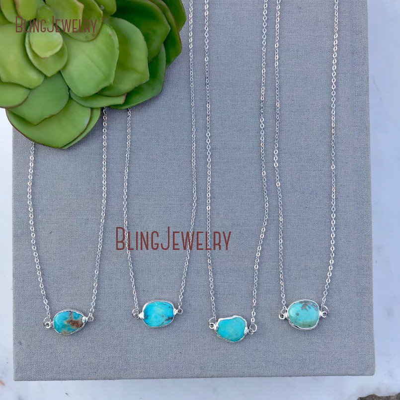 Minimalist  Necklace Double Bail Silver Turquoises Connectors Necklace Boho Rough Cut Freeform Turquoises Necklace  NM11600