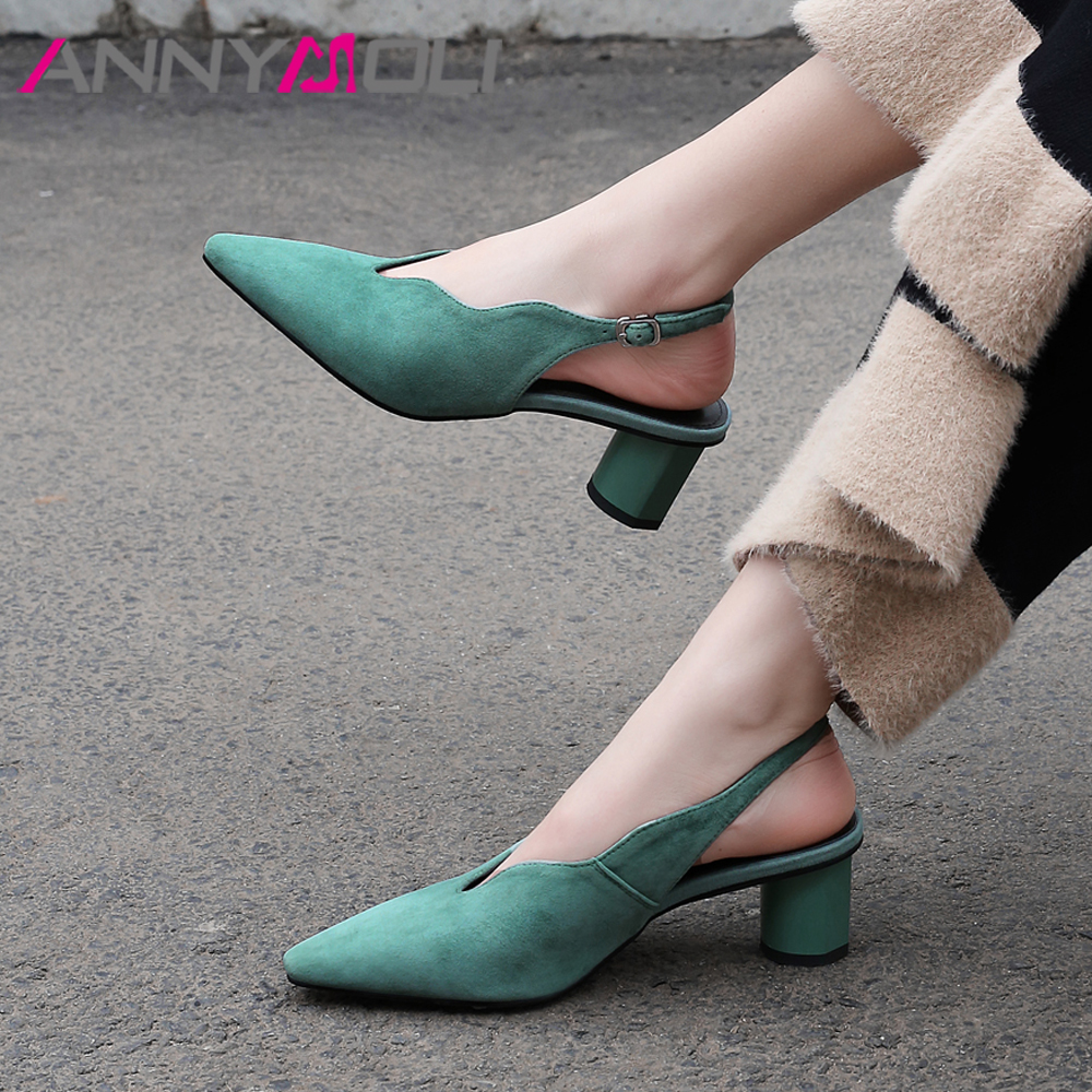 ANNYMOLI Women Glove Shoes High Heels Kid Suede Thick High Heels Slingbacks Shoes Genuine Leather Buckle Pumps Ladies Size 33-43