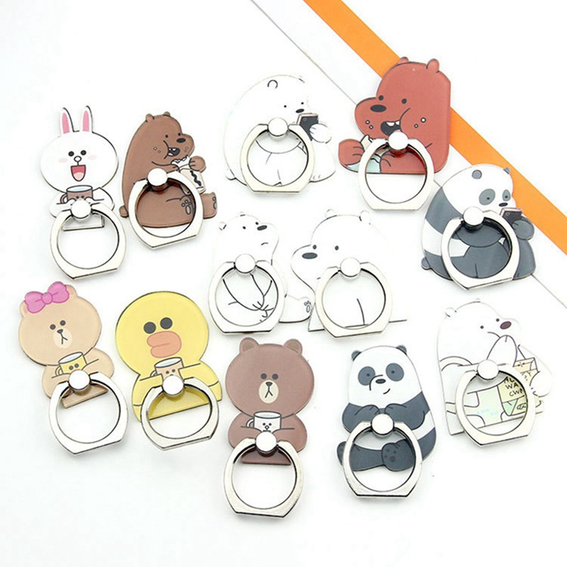 Mobile Phone Stand Holder Cartoon Beauty Lady Finger Ring Smartphone Cute Animal Bear Panda Holder Stand