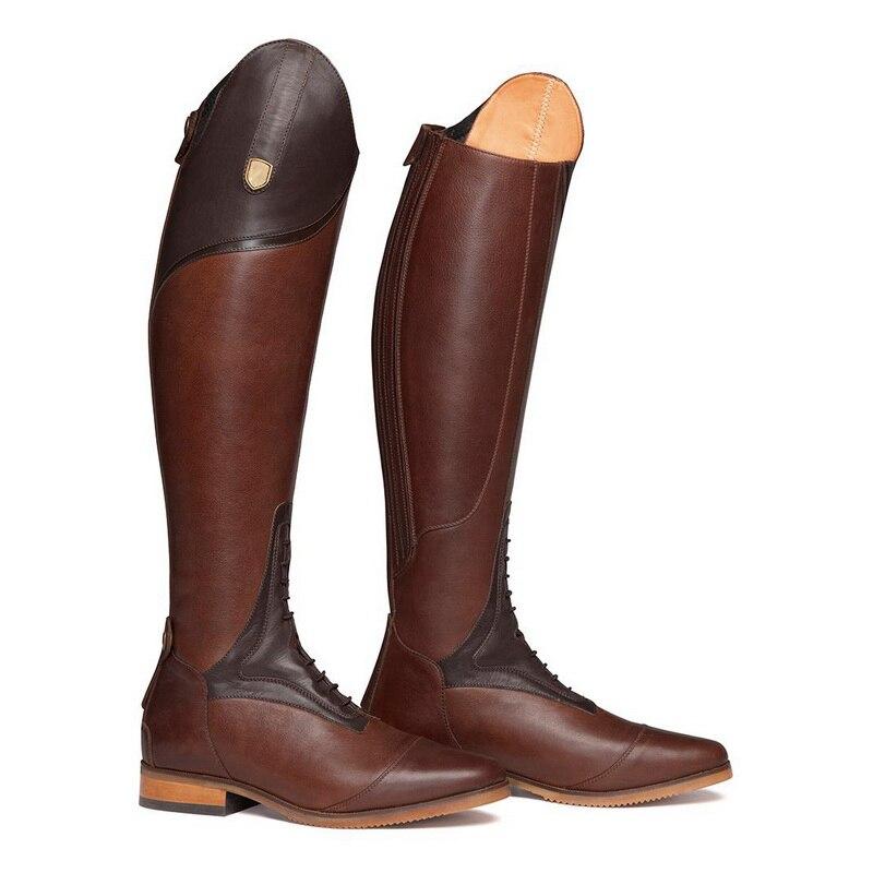 Женские сапоги в жокейском стиле высокие женские Сапоги выше колена на шнуровке, кожаные сапоги до колена размера плюс 40, 41, 42, 43 - Цвет: Red Brown