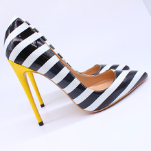 Free shipping  fashion women pumps white black Stripe printed pointed toe high heels sandals shoes boots wedding 12cm 10cm