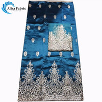 Latest 2016 Indian Satin George Lace Fabrics Feel Silk African Lace Fabrics With Sequins For Nigerian