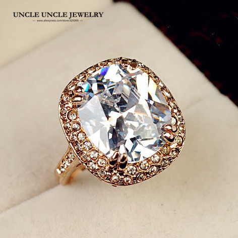 Ultra-big!!! Rose Gold Color Royal Oval Top Class Cubic Zircon Crystal Luxury Lady Finger Ring Wholesale