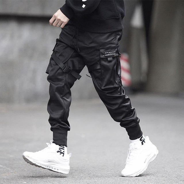 Men Ribbons Color Block Black Pocket Cargo Sweatpant Hip Hop Trousers 2