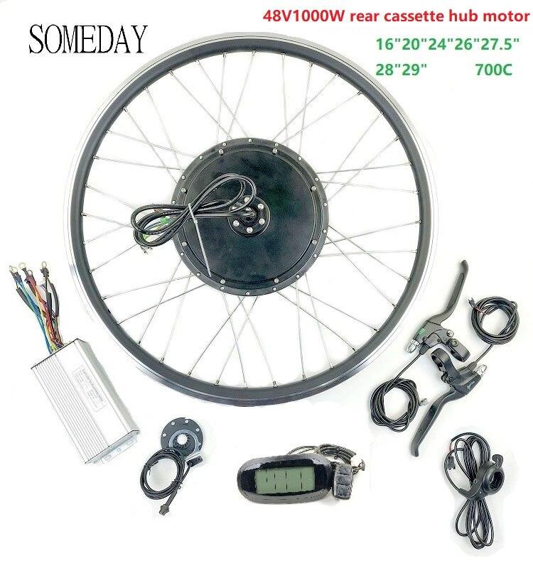 Spor ve Eğlence'ten Dönüşüm Kiti'de BIR GÜN 48V1000W elektrikli bisiklet dönüştürme kiti EBIKE Arka Kaset BLDC Hub Motor ile LCD6 ekran title=