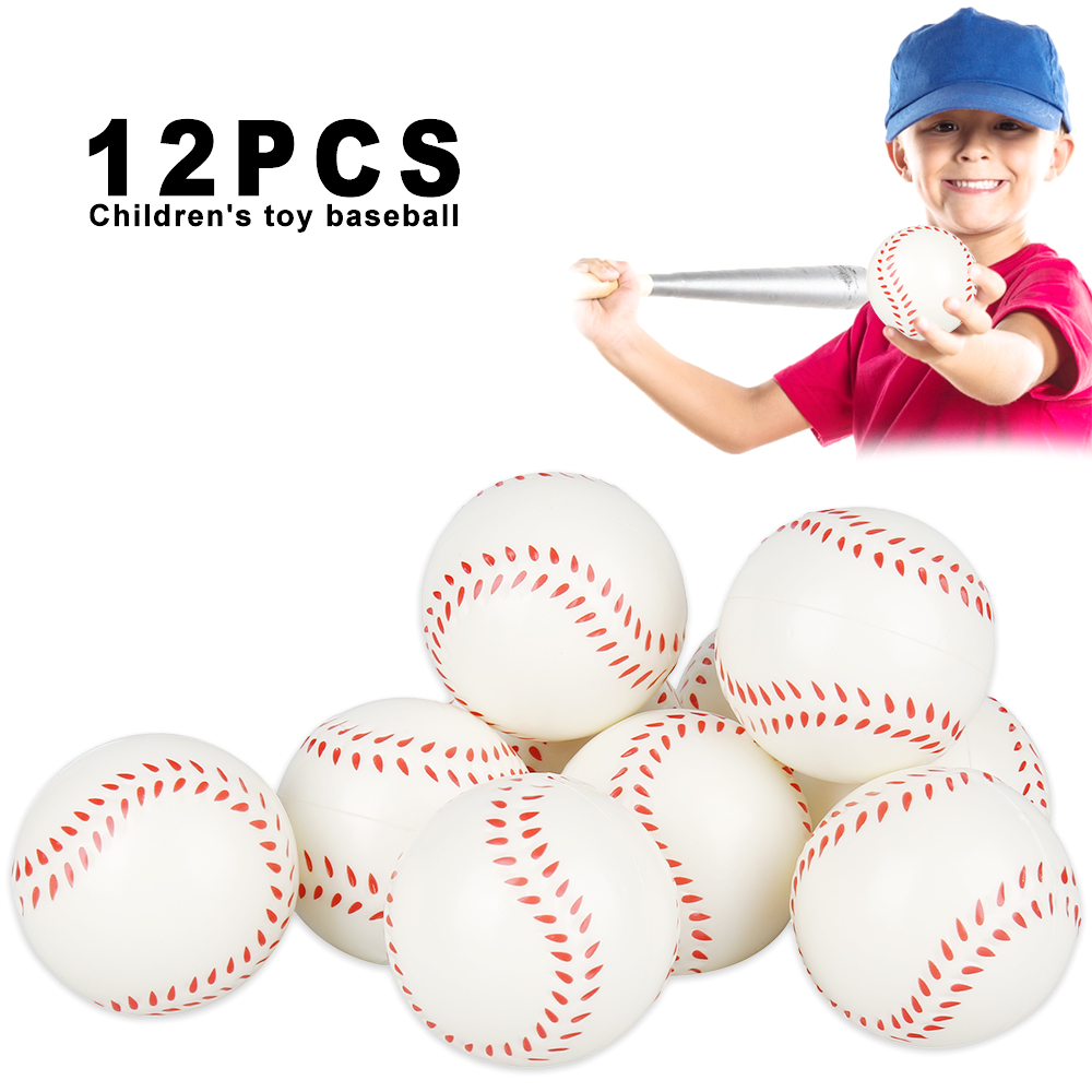 12pcs White Kid Baseball Base Balls Practice Training Pu Child Soft Ball Balls Sport Team Game Toys For Children Stress Ball
