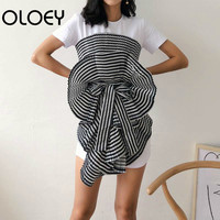 Women T Shirt Striped Slash Neck Irregular 3D Bow Women Tops Backless Lace Up Woman T shirts All Match Sexy Chest wound J614