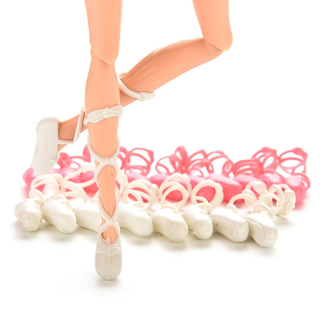 New Dolls Ballet Shoes Bind-type Toe Shoes Boots For  doll  Doll Accessorises Gifts for Girls Mixed Colors 10 Pairs = 20 PCS