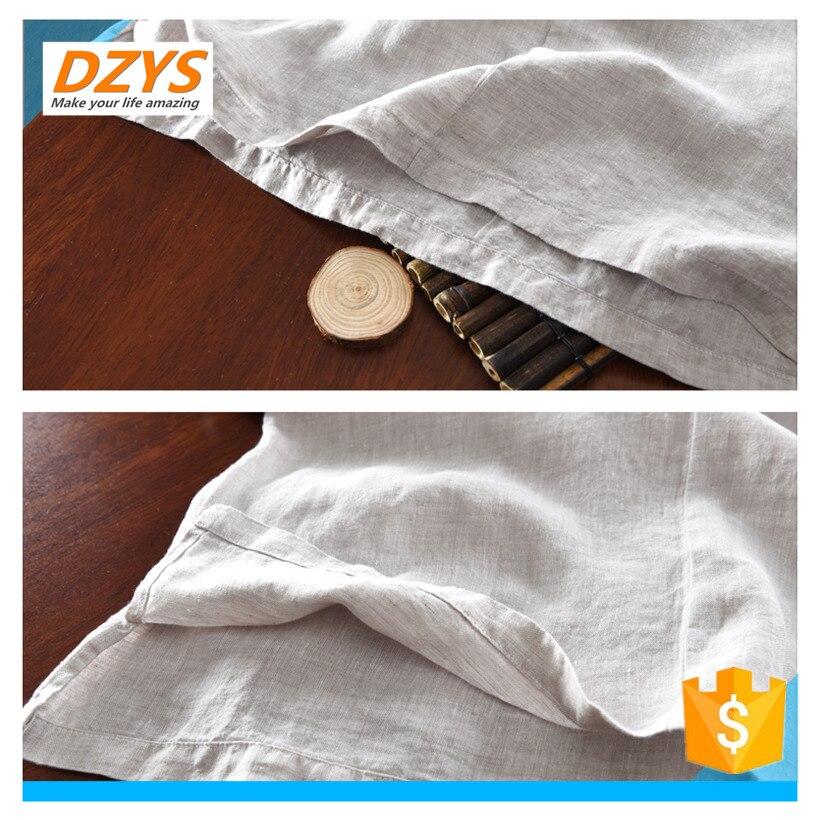 DZYS JF estilo chino de algodón y lino de los hombres de manga corta de lino de manga corta Camisa de gran tamaño Lino verano Suelto camiseta - 6