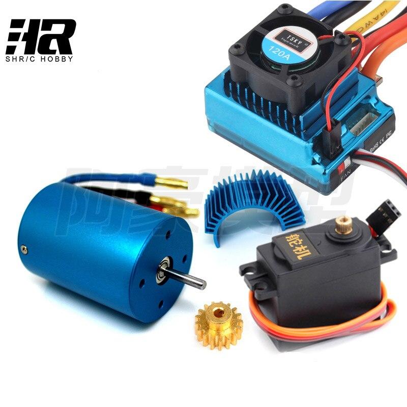 3650 3300KV 2700KV brushless motor+120A ESC+motor 17Tgear+Motor radiator+steering engine for RC 1/10 HSP 94111 94107 94103 94123 цена 2017