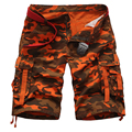 New Summer 90% Cotton Camouflage Military Cargo Shorts Men Camo Army Multi Pockets Shorts Masculino Loose pantalones cortos Red