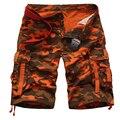Nuevo Verano 90% de Algodón de Camuflaje Militar Cargo Shorts Camo Del Ejército Multi Bolsillos Pantalones Cortos Masculino Suelta pantalones cortos de Color Rojo