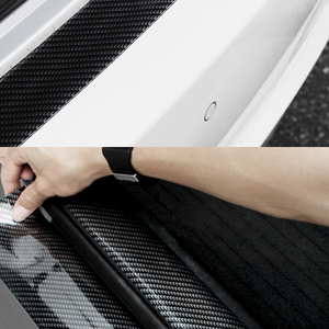 Image 3 - Carbon Fiber Rubber Moulding Strip Soft Black Trim Bumper Strip DIY Door Sill Protector Edge Guard Car Stickers Car Styling 1M