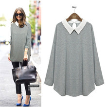Plus Size 2016 High Quality Long Sleeve Casual Bottom Loose Shirt Women Gray/Black/Dark Blue Blusas Thin Sweatershirt 800039