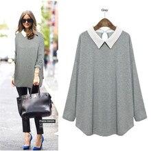 Plus Size 2016 High Quality Long Sleeve Casual Bottom Loose Shirt Women Gray/Black/Dark Blue Blusas Thin Sweatershirt 800039